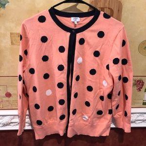 Crown & Ivy pink polka dot cardigan
